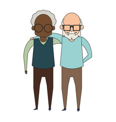 Grandparents seniors old grandfathers cartoon vector