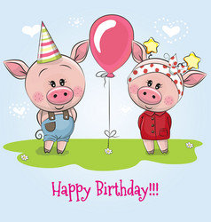 Greeting birthday card with cute pigs vector