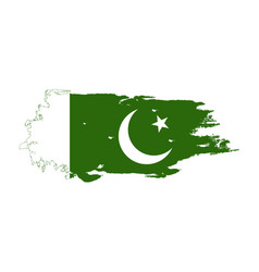 Grunge brush stroke with pakistan national flag vector