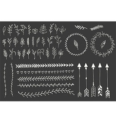 Hand drawn vintage arrows feathers floral vector