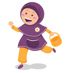 happy cute moslem girl vector image