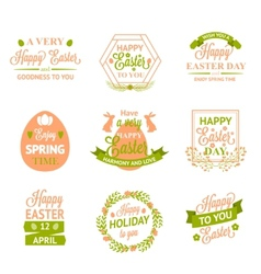 Happy Easter labels logos and badges vector image