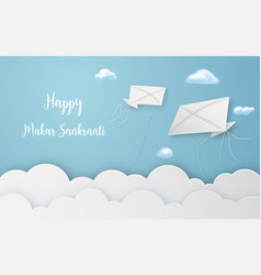 happy makar sankranti festival with flying kites vector image