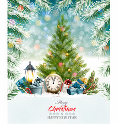 holiday background with a christmas tree and vector image