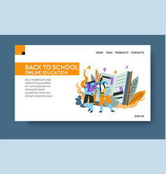 home learning distant online education landing vector image