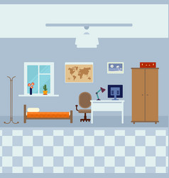 Interior of student room vector