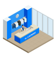 Isometric laundry reception concept laundry vector