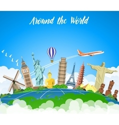Landmarks on the globe vector image