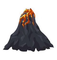 Lava volcano icon cartoon style vector