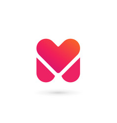 Letter m heart logo icon design template elements vector