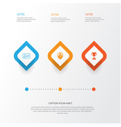 management icons set collection of personal badge vector image