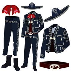 mariachi musician costume parts vector image