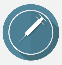 Medicine icon on white circle with a long shadow vector