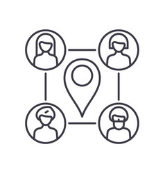 Meeting point icon linear isolated vector