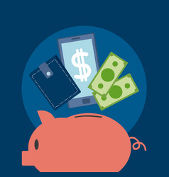 money savings on piggy vector image