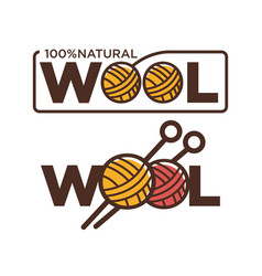Natural wool 100 percent quality threads and vector