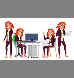 Office worker woman happy clerk servant vector