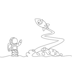 one continuous line drawing spaceman astronaut vector image