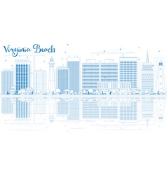 Outline Virginia Beach Skyline with Blue Buildings vector