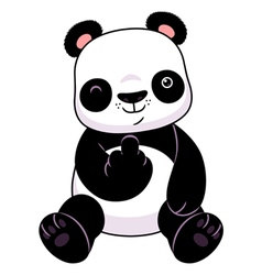 Panda make a middle finger symbol vector