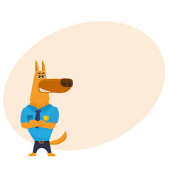 Police dog character standing with paws crossed vector