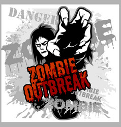 poster zombie outbreak sign board with zombie vector image