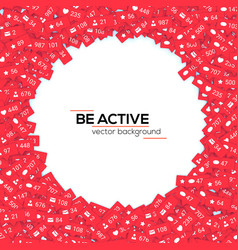 Red icons of social media network activity vector