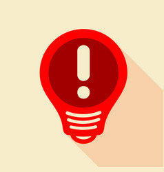 Red light bulb with exclamation mark inside icon vector