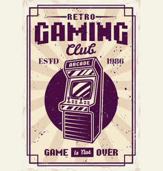 Retro gaming club poster with arcade machine vector