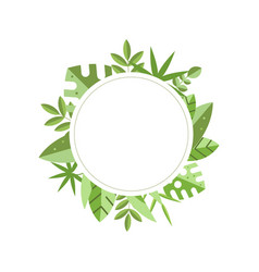 Round frame with green tropical leaves on vector