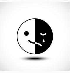 sad and cheerful mood in one emoji vector image