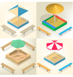 sandbox with benches in isometric vector image