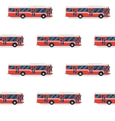 Seamless pattern of red buses vector
