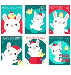 set christmas gift tag card sticker with cute vector image