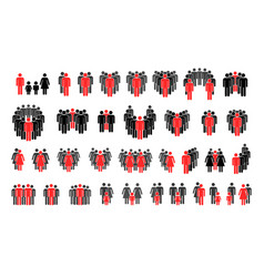 set different person silhouettes with important vector image