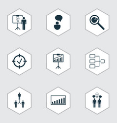 Set of 9 executive icons includes opinion vector