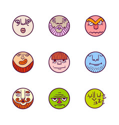 Set of colorful avatar expression icons vector