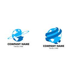 set of earth logo template vector image
