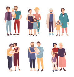 Set of gay couple with children of different ages vector