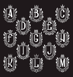 Set of royal coat of arms letters from a to m vector