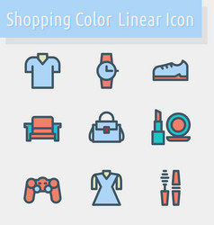 shoping color line icon vector image