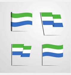 sierra leone waving flag set design vector image