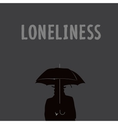 Silhouette of the lonely man under an umbrella vector