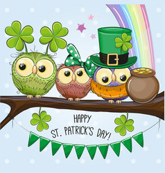 st patricks greeting card with three owls vector image