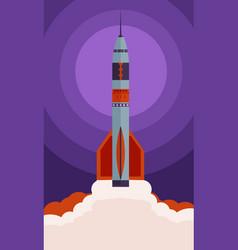 starting rocket in flat design vector image