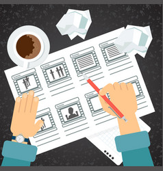 Storyboarding process hand vector