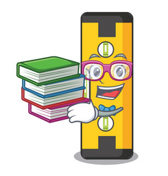 Student with book spirit level in a cartoon bag vector