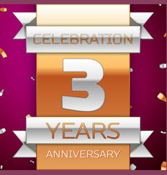 Three years anniversary celebration design vector