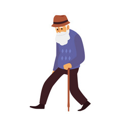 Tired old man elderly male character with walking vector