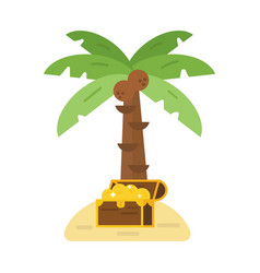 treasure chest and green palm tree vector image